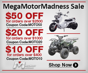 MegaMotorMadness Sale,  $50 off for order over $2500, Coupon Code: MOTO50;  $20 off for order over $1000, Coupon Code: MOTO20;  $10 off for order over $400, Coupon Code: MOTO10.  Shop now