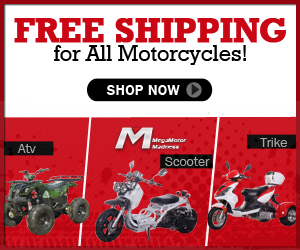Free Shipping for All Motorcycles! ATV, SCOOTER, TRIKE,STREET BIKE and UTV from Mega Motor Madness. Shop now!