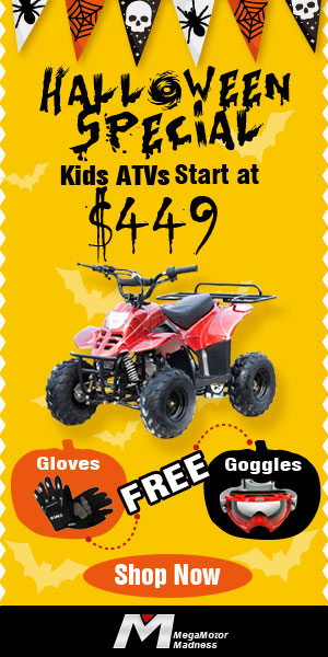 Halloween Special! Kids ATVs start at $449 & Free Gloves and Goggles. Ends Nov.10. Shop now!