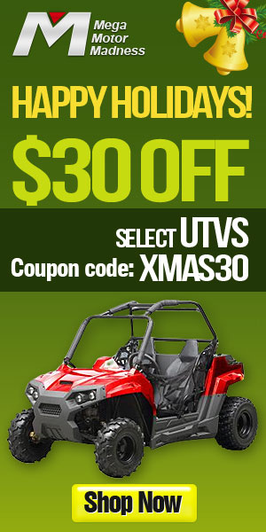 Happy Holidays! $30 off for Select UTVs Coupon code: XMAS30.  Ends Dec. 31. Shop now!
