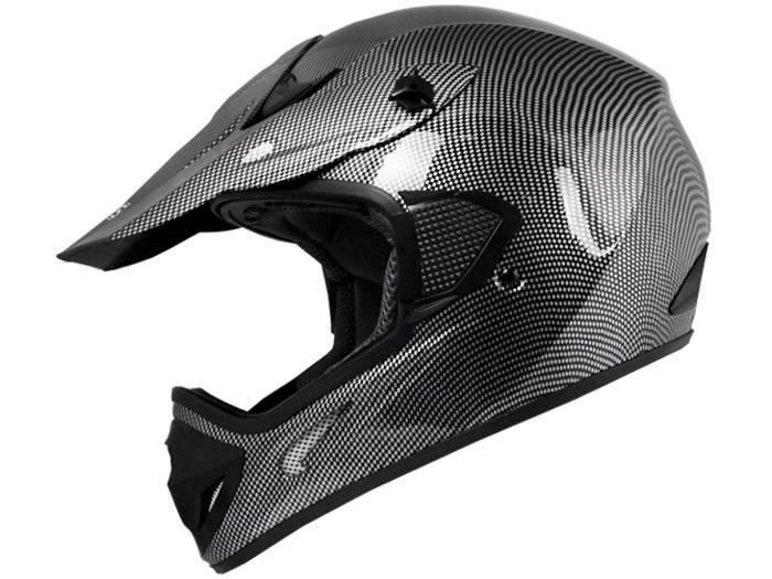 Adult Black Carbon Fiber Off-Road Dirt Bike ATV Motorcycle Helmet