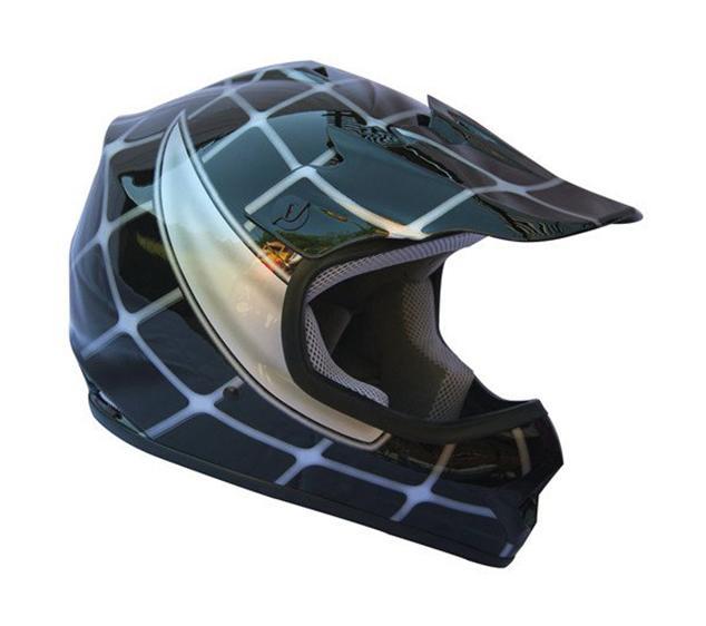 Youth Black Spider Net DOT Approved Dirt Bike ATV Motorcycle Motocross Helmet
