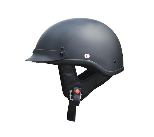 Adult Matte Black Germany Cruising Half Face Motorcycle Helmet DOT Approved