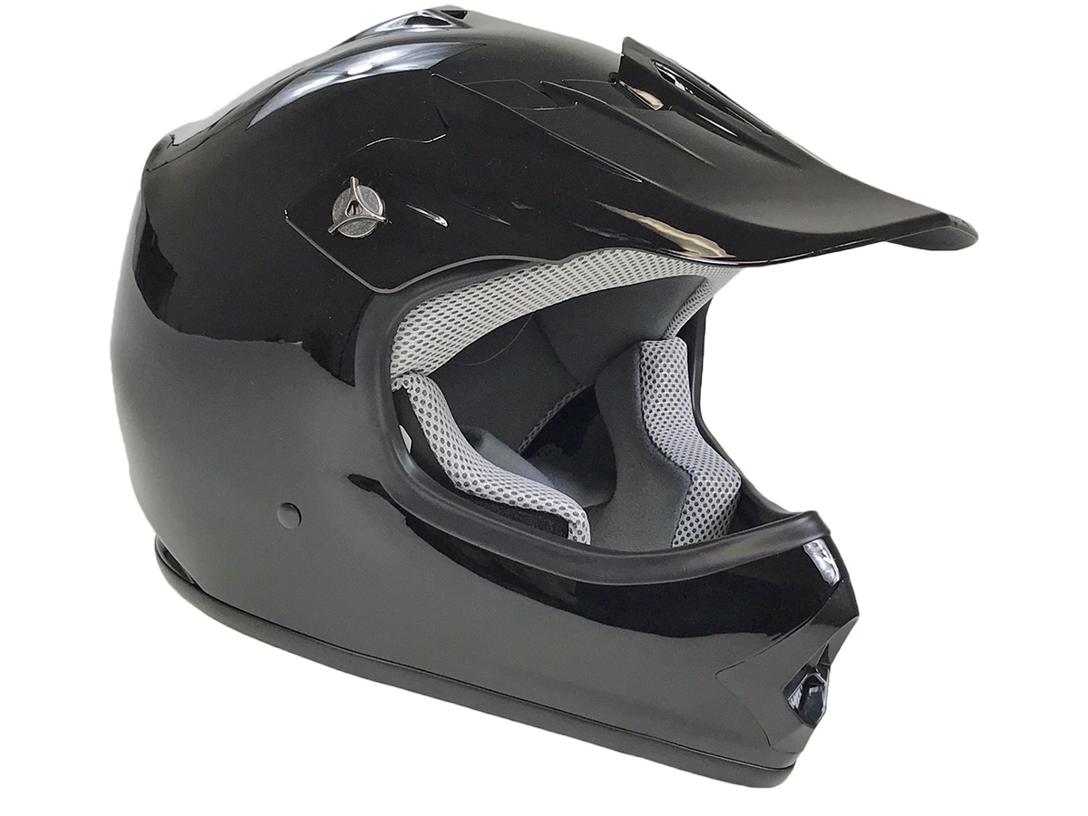 Youth Black DOT Approved Dirt Bike ATV Motorcycle Motocross Offroad Helmet - XL