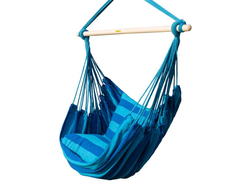 Garden Seaside Stripe Soft Comfort Hanging Rope Hammock Chair