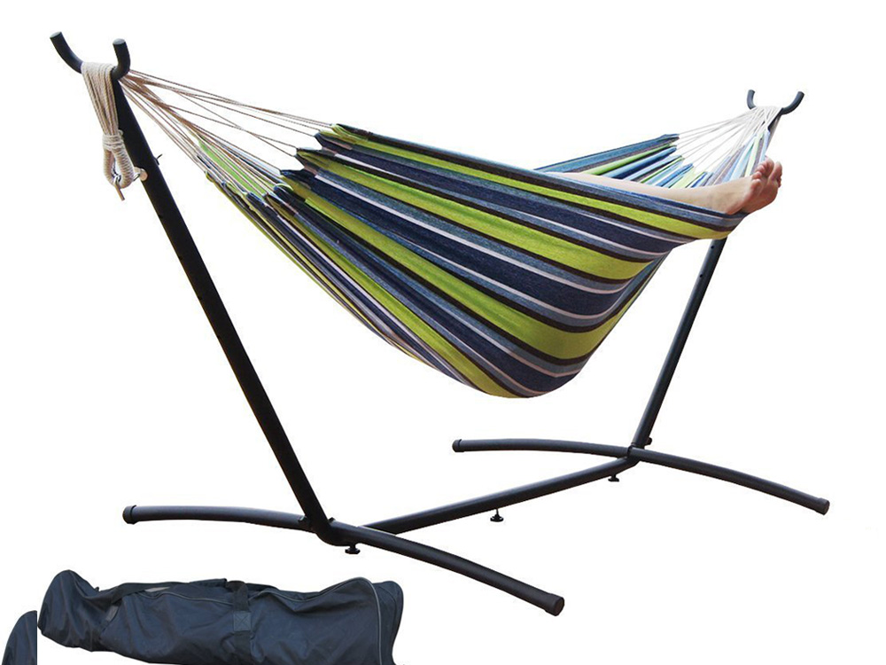 9' Double Hammock with Space Saving Steel Hammock Stand, Elegant Oasis Stripe