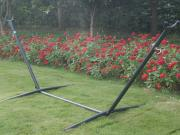 9' Double Hammock with Space Saving Steel Hammock Stand, Elegant Oasis Stripe