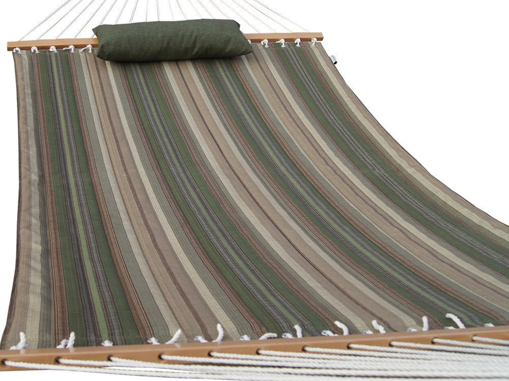 Quilted Fabric Hammock with Pillow, Hardwood Spreader Bars, 2 People, Desert Stripe - Desert Stripe