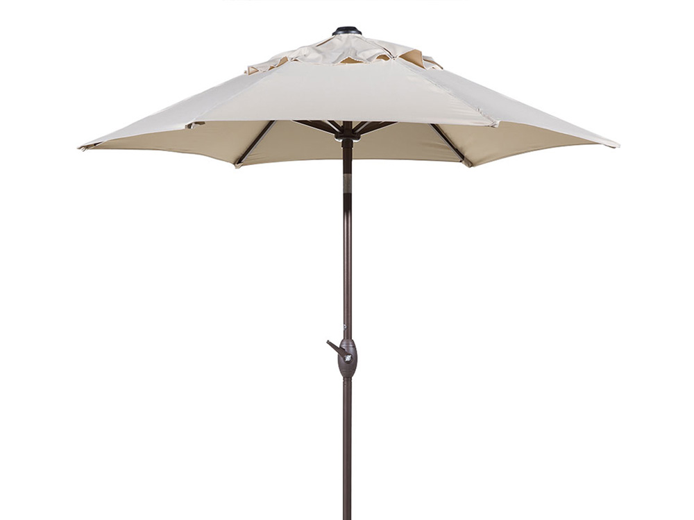 Round Outdoor Market Patio Umbrella with Push Button Tilt and Crank Lift 7-1/2 ft. - Beige