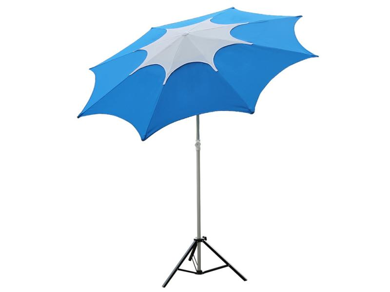 Blue Fiberglass Rib Beach Patio Umbrella with Adjustable Height