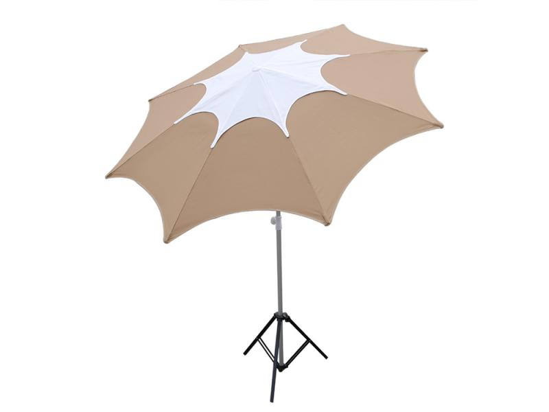 Tan Fiberglass Rib Beach Patio Umbrella with Adjustable Height