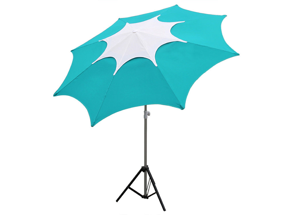 Turquoise Fiberglass Rib Beach Patio Umbrella with Adjustable Height - Turquoise