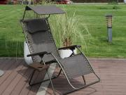 Oversized Recliner Zero Gravity Chair with Sunshade and Drink Tray
