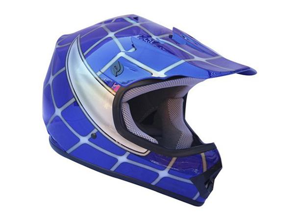 Youth Blue Spider Net DOT Approved Dirt Bike ATV Motorcycle Motocross Helmet