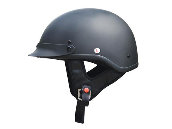 Adult Matte Black Germany Cruising Half Face Motorcycle Helmet DOT Approved - XL