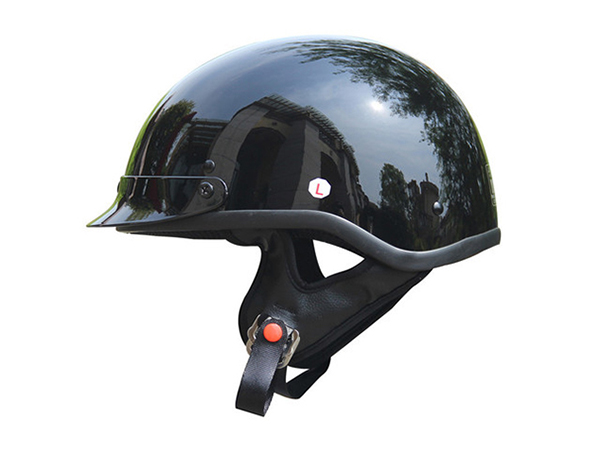 Adult Glossy Black Germany Cruising Half Face Motorcycle Helmet DOT Approved - XL
