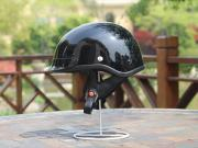 Adult Glossy Black Germany Cruising Half Face Motorcycle Helmet DOT Approved