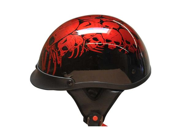 Adult Matte Black Germany Cruising Half Face Motorcycle Skull Red Helmet DOT Approved