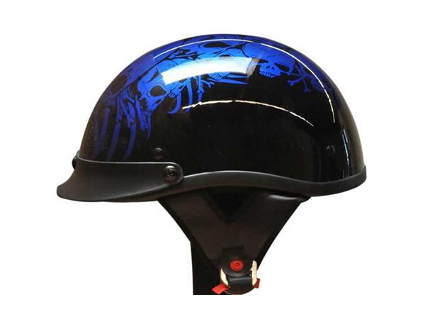 Adult Matte Black Germany Cruising Half Face Motorcycle Skull Blue Helmet DOT Approved