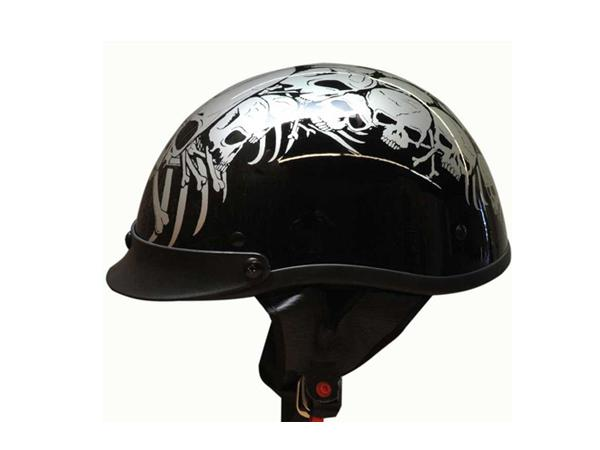 Adult Matte Black Germany Cruising Half Face Motorcycle Skull Silver Helmet DOT Approved