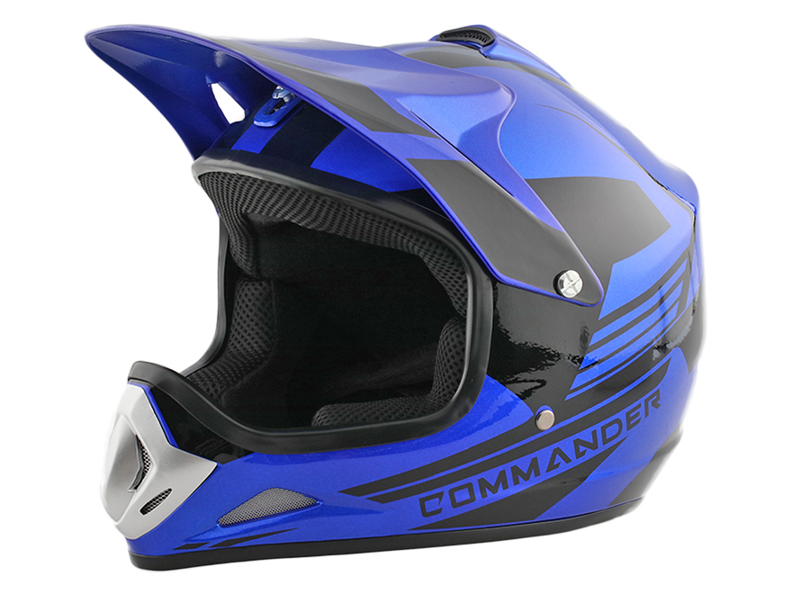 Kids Youth Blue DOT Approved Dirt Bike ATV Motorcycle Motorcross Helmet - XL