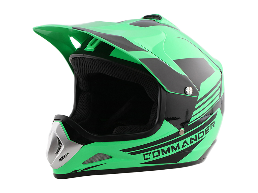 Kids Youth Green DOT Approved Dirt Bike ATV Motorcycle Motorcross Helmet - XL